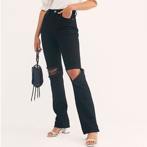 Free People Black Ripped My Own Lane Jeans NWT 27